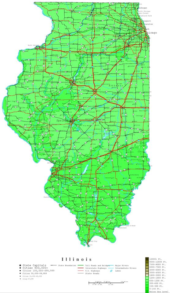 contour map of Illinois state, IL elevation map