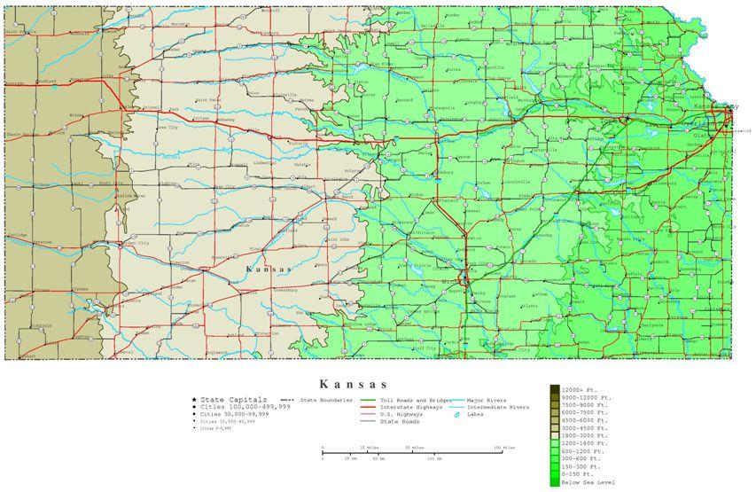 contour map of Kansas state, KS elevation map