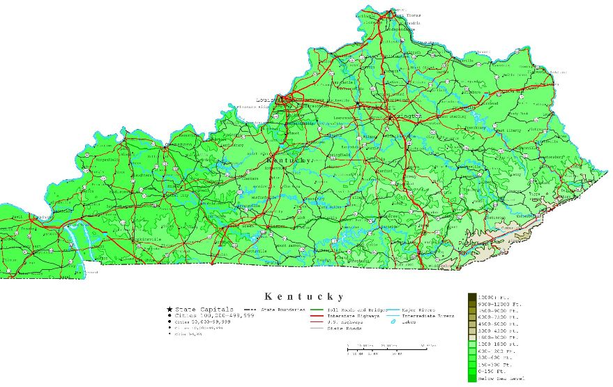 contour map of Kentucky state, KY elevation map