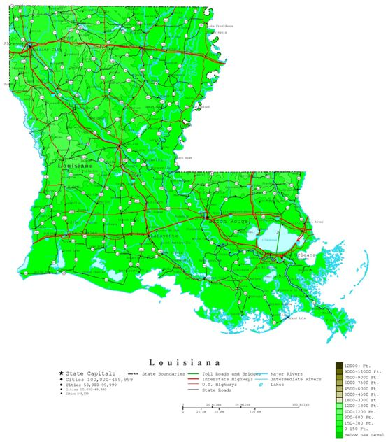 contour map of Louisiana state, LA elevation map