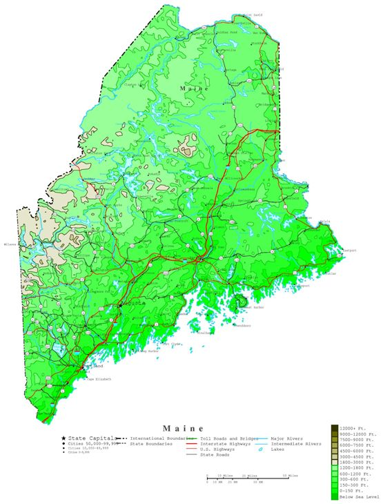 contour map of Maine state, ME elevation map