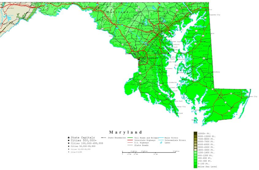 contour map of Maryland state, MD elevation map