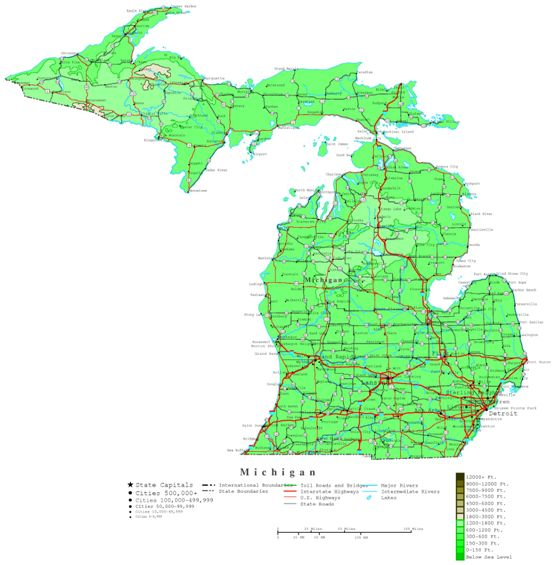 contour map of Michigan state, MI elevation map