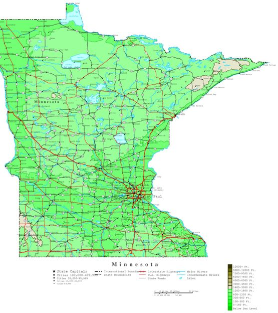 contour map of Minnesota state, MN elevation map