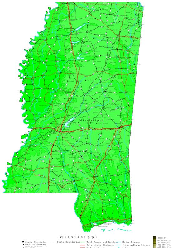 contour map of Mississippi state, MS elevation map