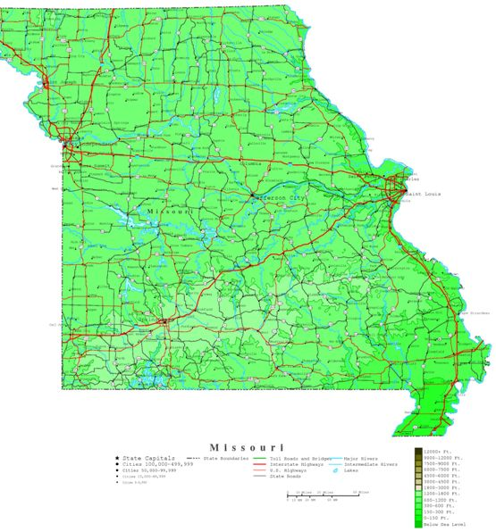 contour map of Missouri state, MO elevation map