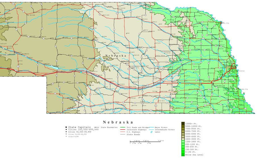 contour map of Nebraska state, NE elevation map