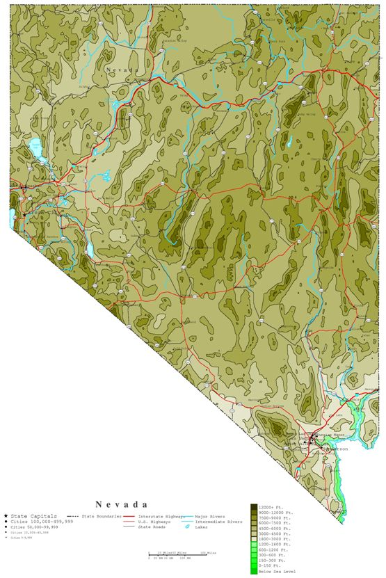 contour map of Nevada state, NV elevation map