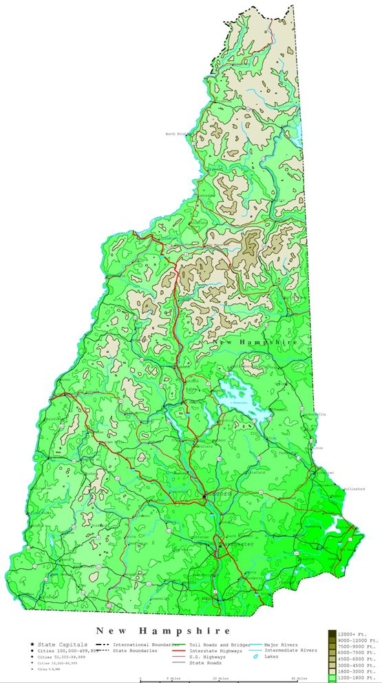 contour map of New Hampshire state, NH elevation map
