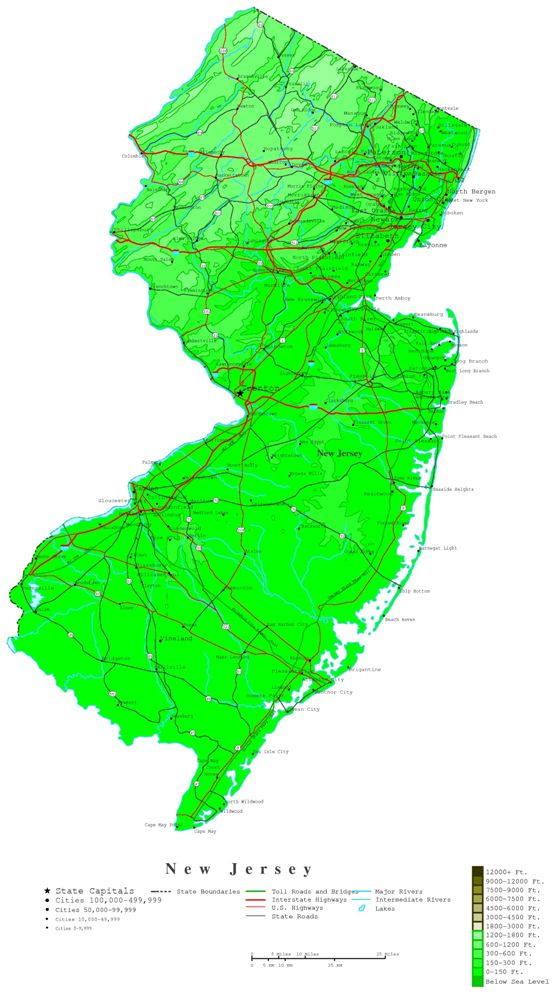 contour map of New Jersey state, NJ elevation map