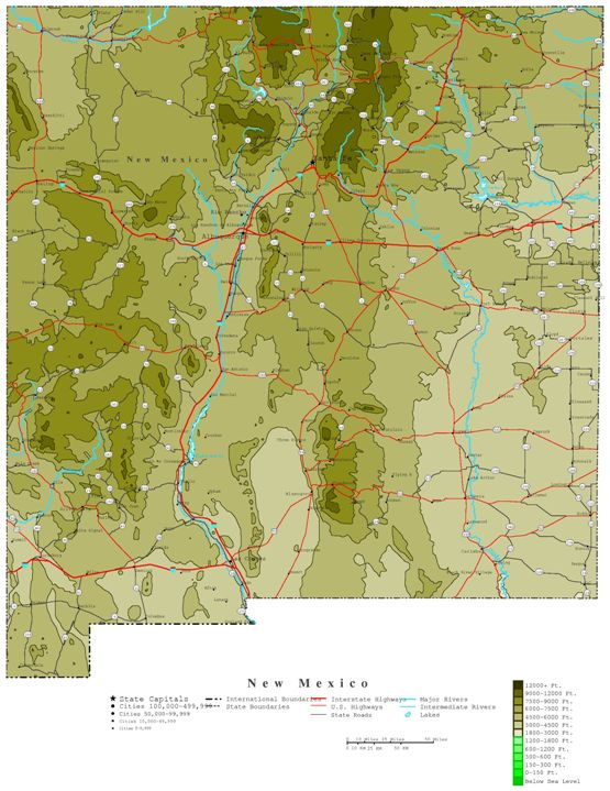 contour map of New Mexico state, NM elevation map
