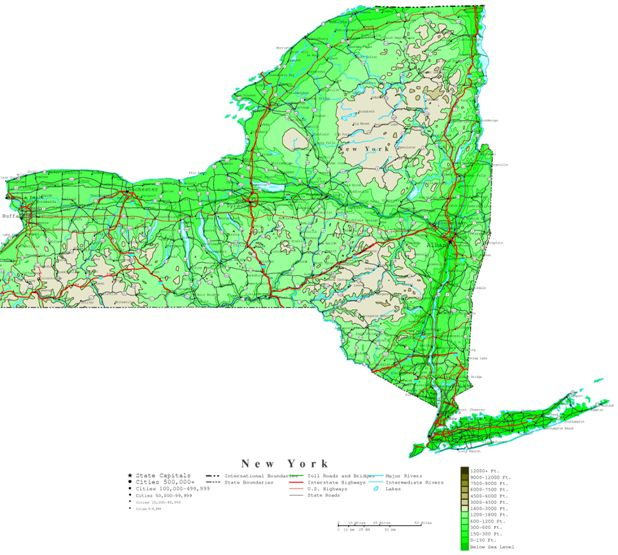contour map of New York state, NY elevation map