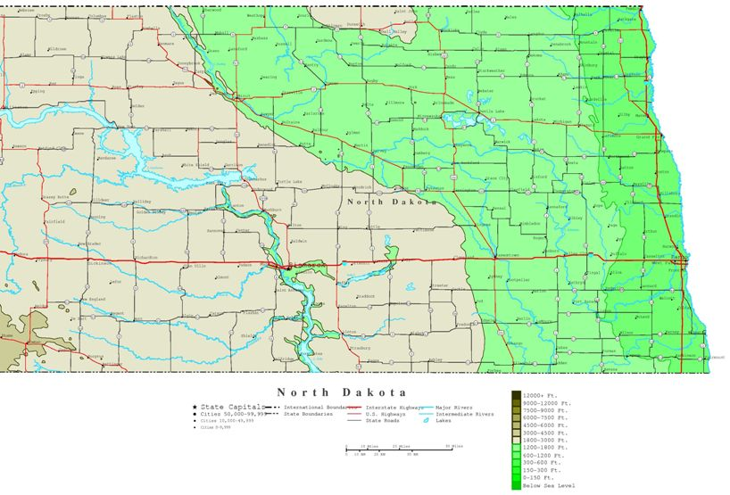 contour map of North Dakota state, ND elevation map