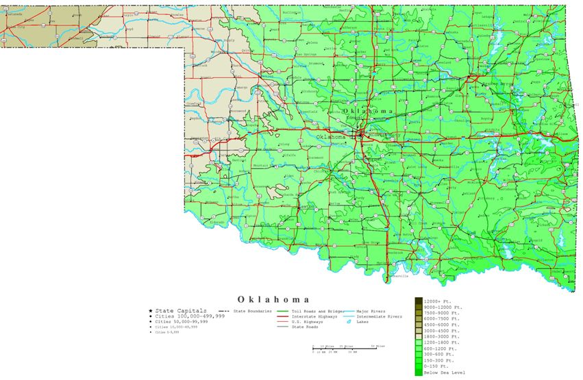 contour map of Oklahoma state, OK elevation map