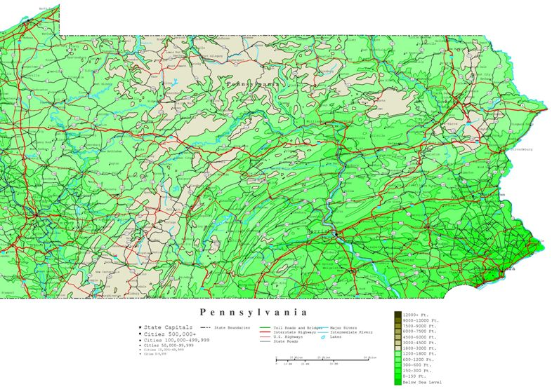 contour map of Pennsylvania state, PA elevation map