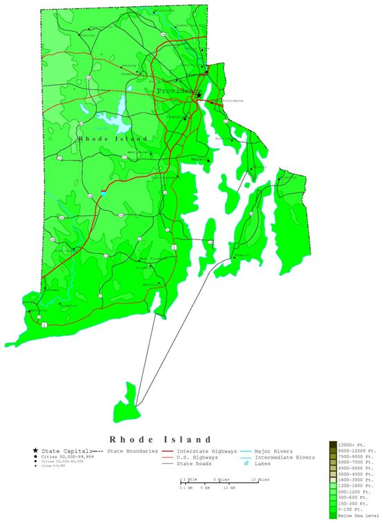 contour map of Rhode Island state, RI elevation map