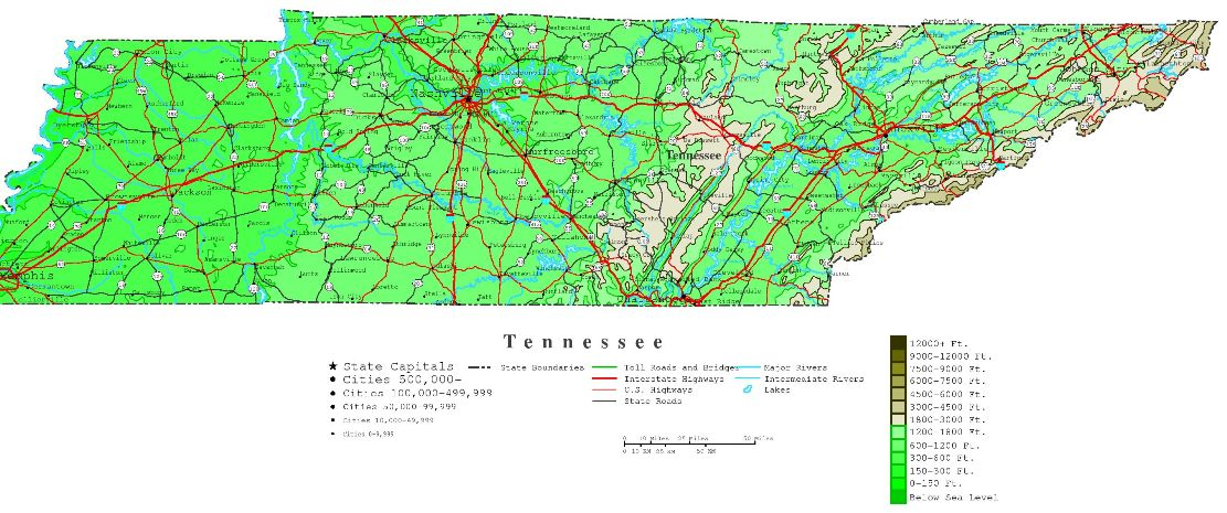 contour map of Tennessee state, TN elevation map