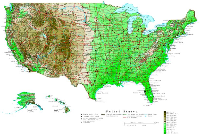 contour map of United States states, USA elevation map