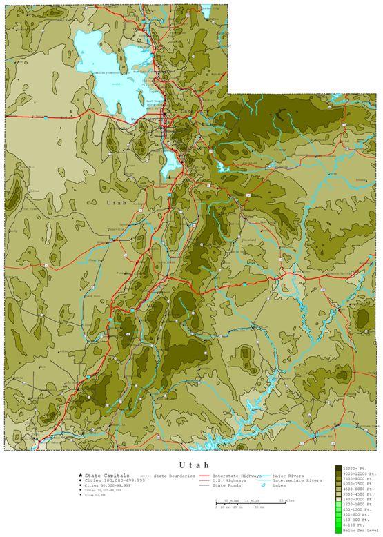 contour map of Utah state, UT elevation map