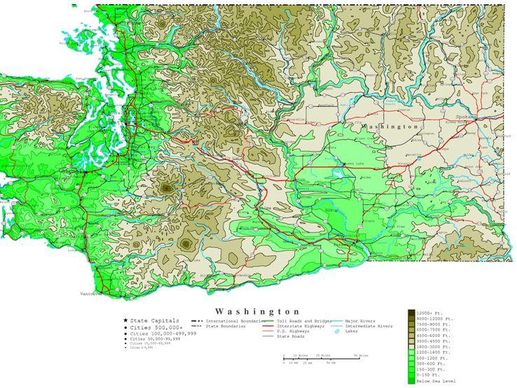 contour map of Washington state, WA elevation map