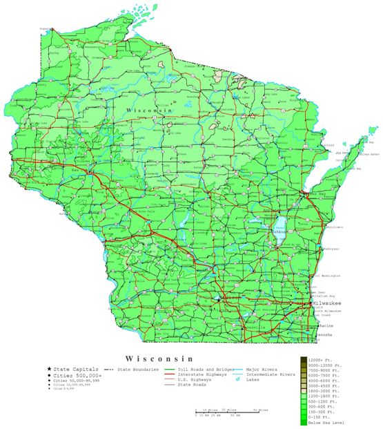 contour map of Wisconsin state, WI elevation map