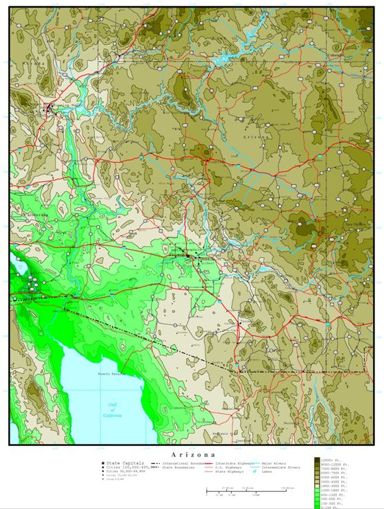 elevation map of Arizona state, AZ contour map