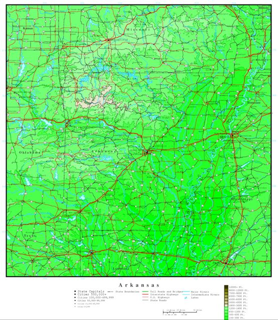 elevation map of Arkansas state, AR contour map