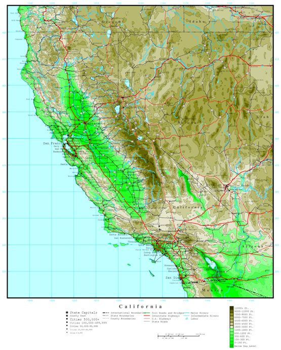 elevation map of California state, CA contour map