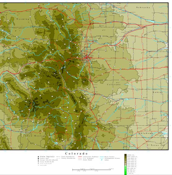 elevation map of Colorado state, CO contour map