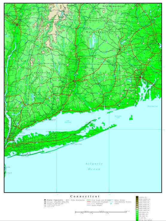 elevation map of Connecticut state, CT contour map