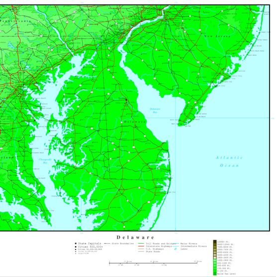 elevation map of Delaware state, DE contour map