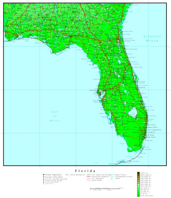 elevation map of Florida state, FL contour map