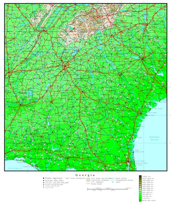 elevation map of Georgia state, GA contour map