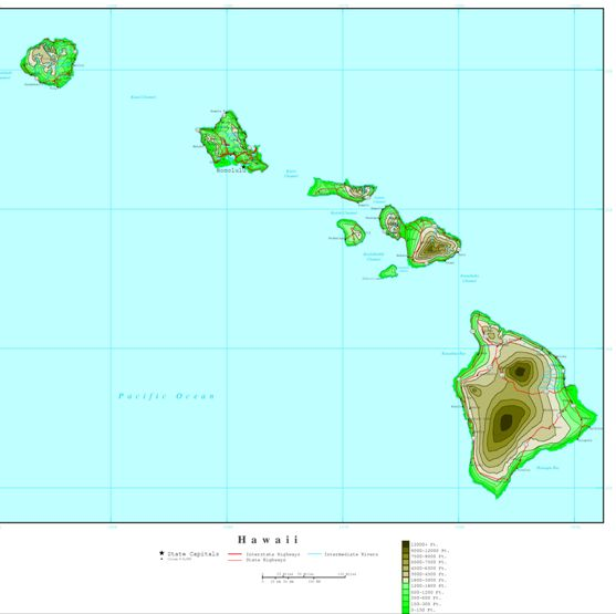 elevation map of Hawaii state, HI contour map