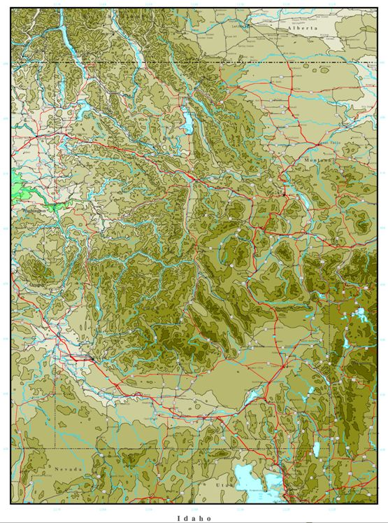 elevation map of Idaho state, ID contour map