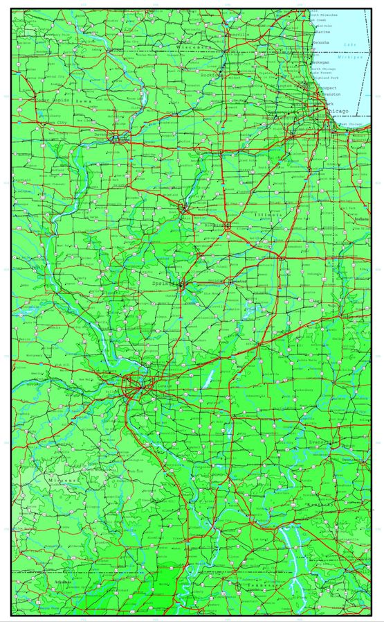 elevation map of Illinois state, IL contour map