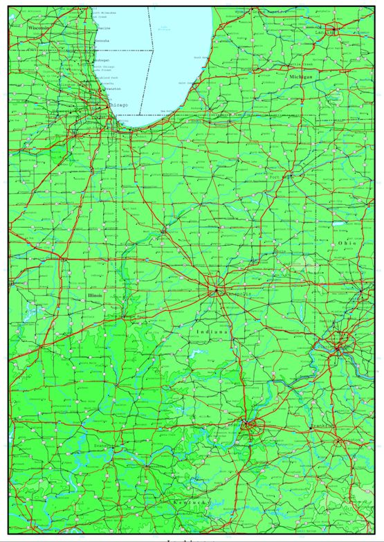 elevation map of Indiana state, IN contour map