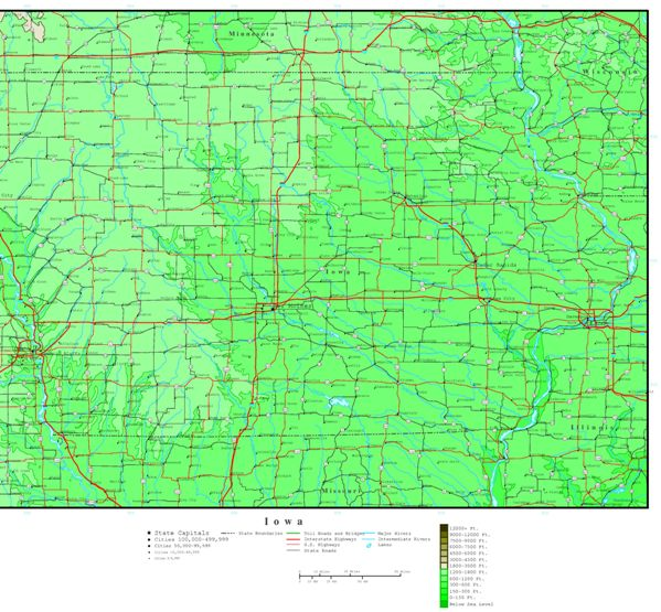 elevation map of Iowa state, IA contour map