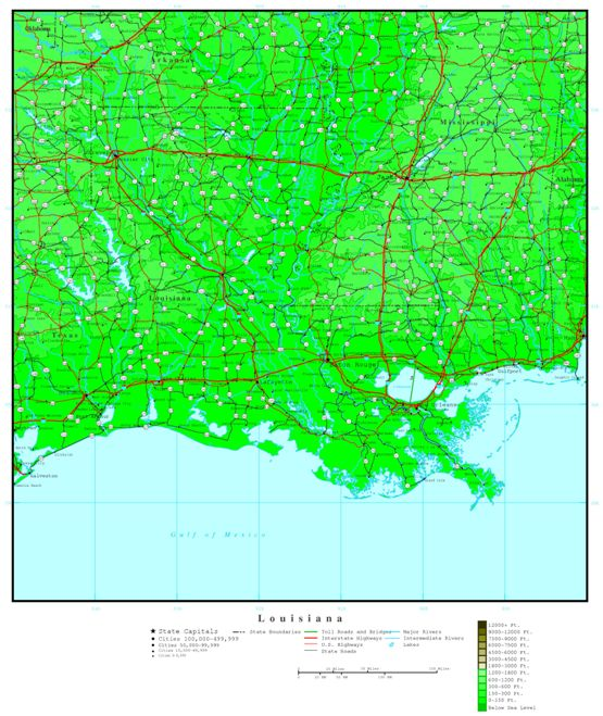 elevation map of Louisiana state, LA contour map