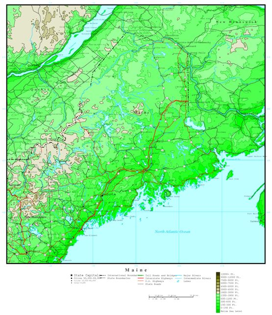 elevation map of Maine state, ME contour map