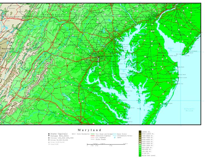 elevation map of Maryland state, MD contour map