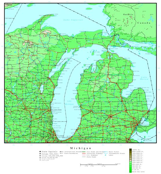 elevation map of Michigan state, MI contour map