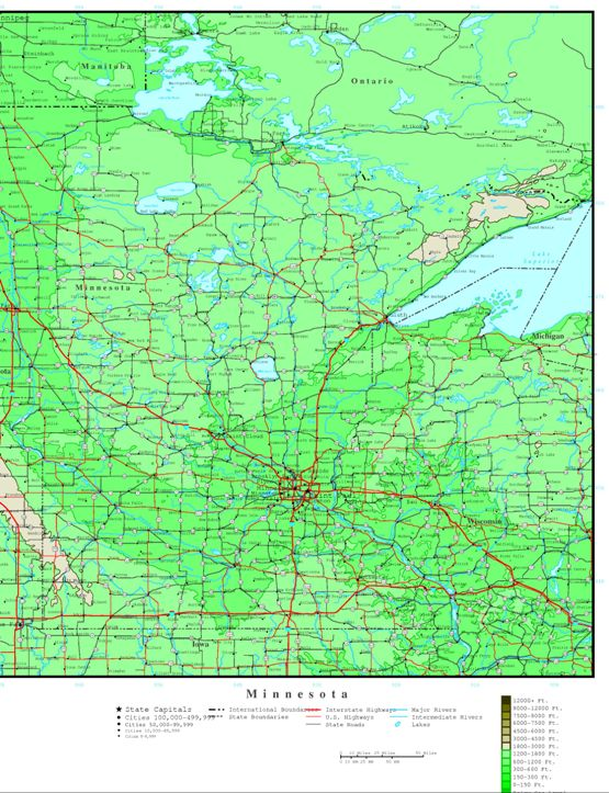 elevation map of Minnesota state, MN contour map