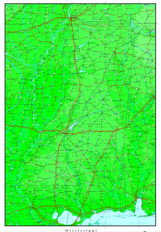 elevation map of Mississippi state, MS contour map