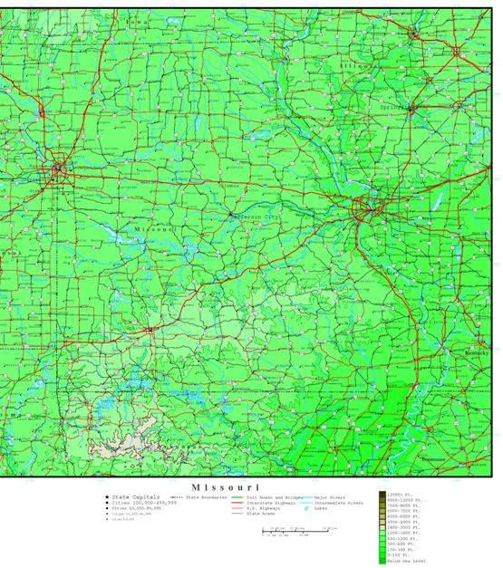 elevation map of Missouri state, MO contour map