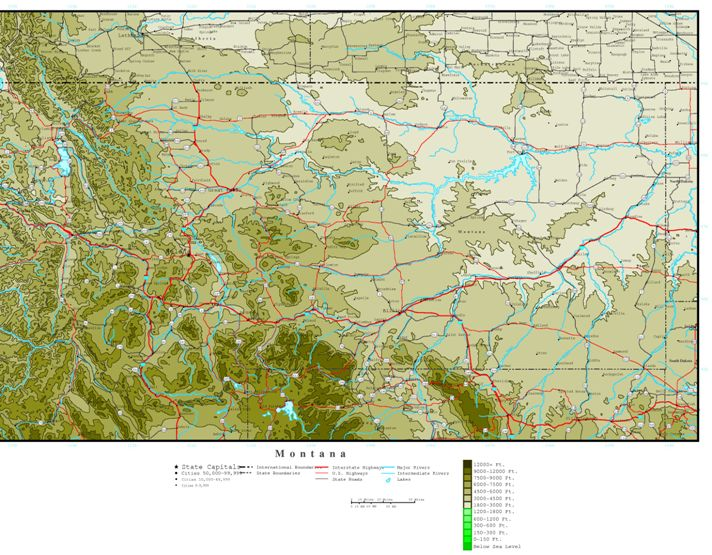 elevation map of Montana state, MT contour map