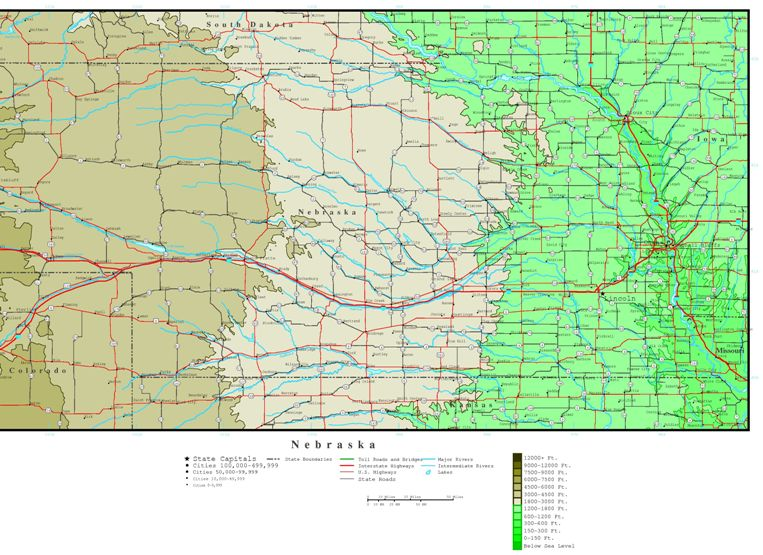 elevation map of Nebraska state, NE contour map