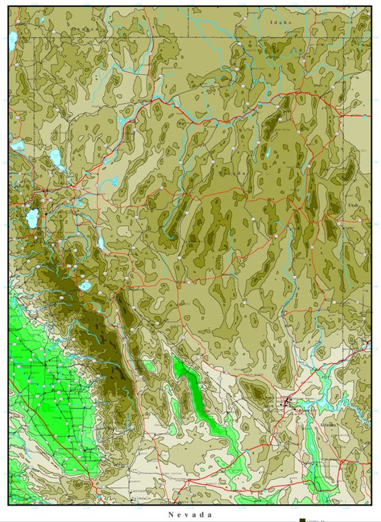 elevation map of Nevada state, NV contour map