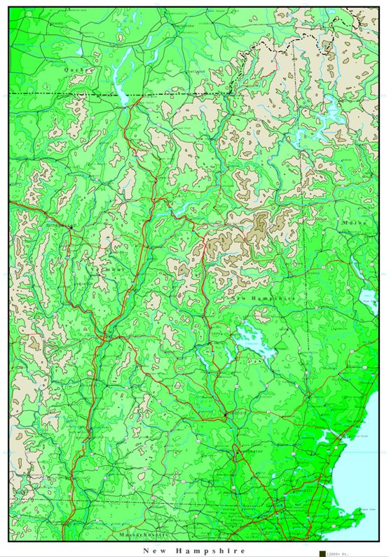 elevation map of New Hampshire state, NH contour map