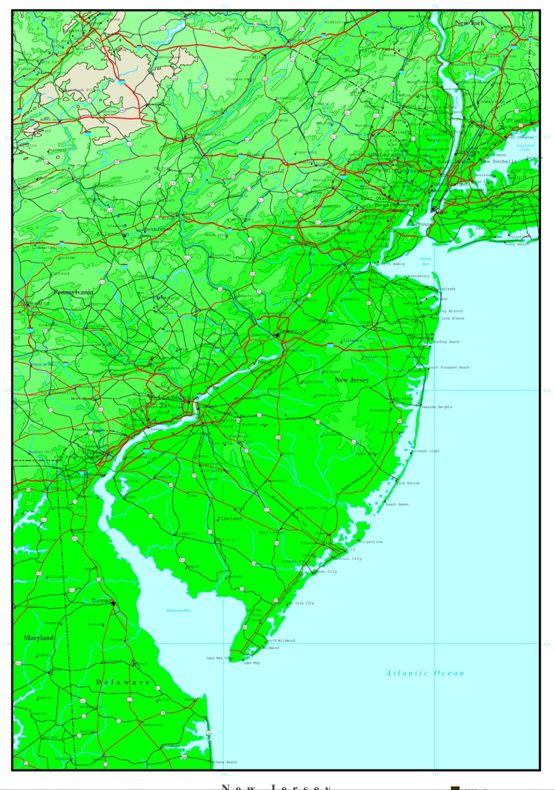 elevation map of New Jersey state, NJ contour map